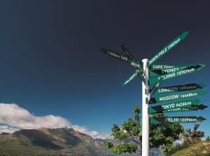 Wegweiser auf dem Bobs Peak in Queentwon