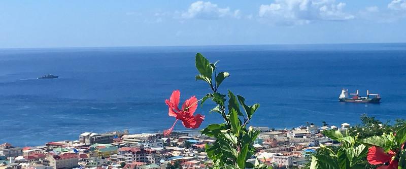Blick auf Dominicas Hauptstadt Roseau